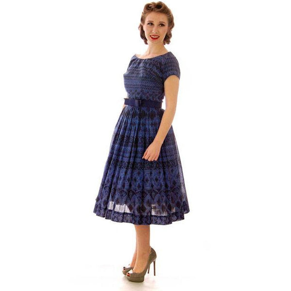 Vintage  Blue Day Dress Wendy Woods Full Skirt 1950s 34-24-Free - The Best Vintage Clothing  - 2