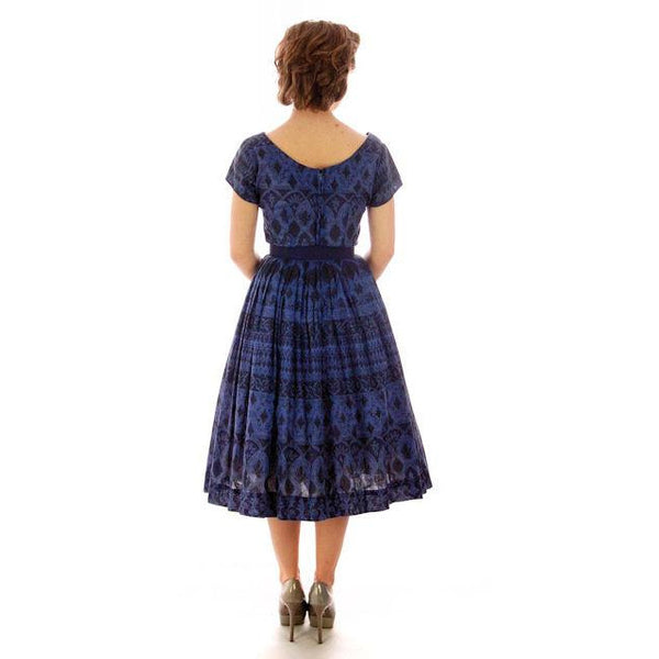 Vintage  Blue Day Dress Wendy Woods Full Skirt 1950s 34-24-Free - The Best Vintage Clothing  - 3