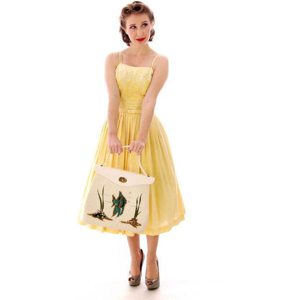 Vintage Yellow Cotton Sundress Embroidered Bodice Wendy Woods 1950s 32-24-Free - The Best Vintage Clothing  - 3