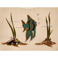Huge Vintage Purse Ivory Burlap Angel Fish Under The Sea 1950S - The Best Vintage Clothing  - 4