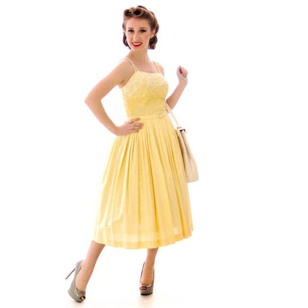 Vintage Yellow Cotton Sundress Embroidered Bodice Wendy Woods 1950s 32-24-Free - The Best Vintage Clothing  - 2