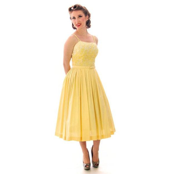 Vintage Yellow Cotton Sundress Embroidered Bodice Wendy Woods 1950s 32-24-Free - The Best Vintage Clothing  - 10