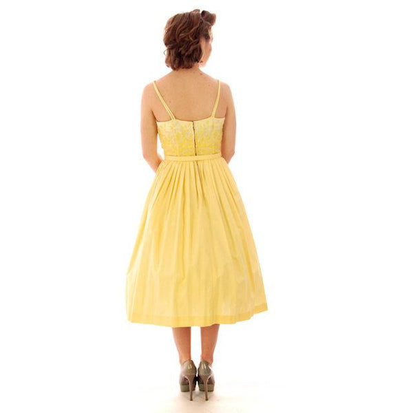 Vintage Yellow Cotton Sundress Embroidered Bodice Wendy Woods 1950s 32-24-Free - The Best Vintage Clothing  - 6