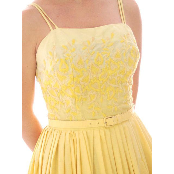 Vintage Yellow Cotton Sundress Embroidered Bodice Wendy Woods 1950s 32-24-Free - The Best Vintage Clothing  - 7