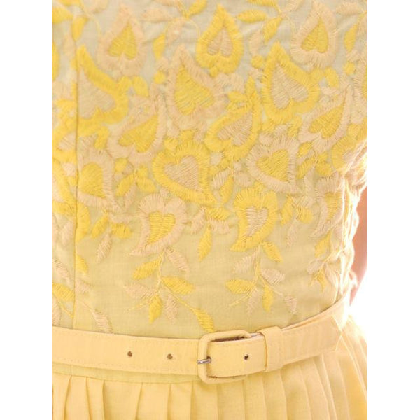 Vintage Yellow Cotton Sundress Embroidered Bodice Wendy Woods 1950s 32-24-Free - The Best Vintage Clothing  - 8