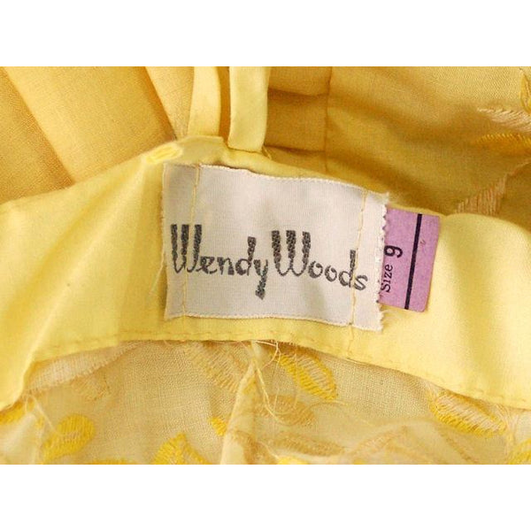 Vintage Yellow Cotton Sundress Embroidered Bodice Wendy Woods 1950s 32-24-Free - The Best Vintage Clothing  - 9