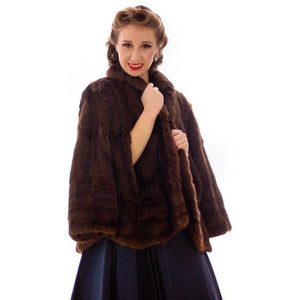 Vintage  Dark Brown Muskrat Fur Convertible  Stole 1940s One Size Fit - The Best Vintage Clothing  - 1