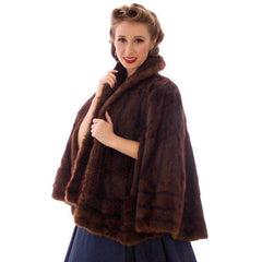Vintage  Dark Brown Muskrat Fur Convertible  Stole 1940s One Size Fit - The Best Vintage Clothing  - 3