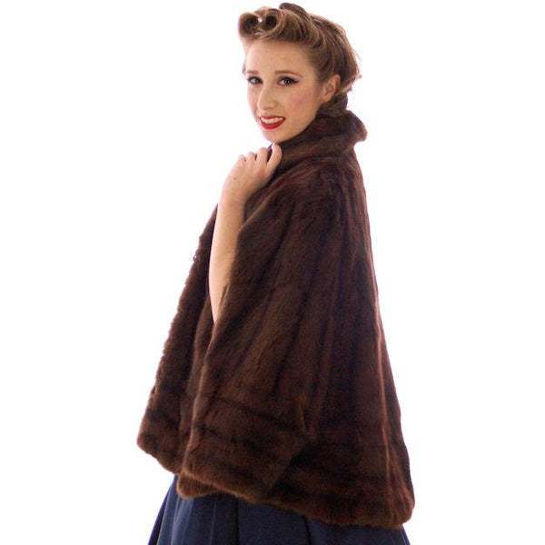Vintage  Dark Brown Muskrat Fur Convertible  Stole 1940s One Size Fit - The Best Vintage Clothing  - 2