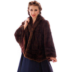 Vintage  Dark Brown Muskrat Fur Convertible  Stole 1940s One Size Fit - The Best Vintage Clothing  - 9