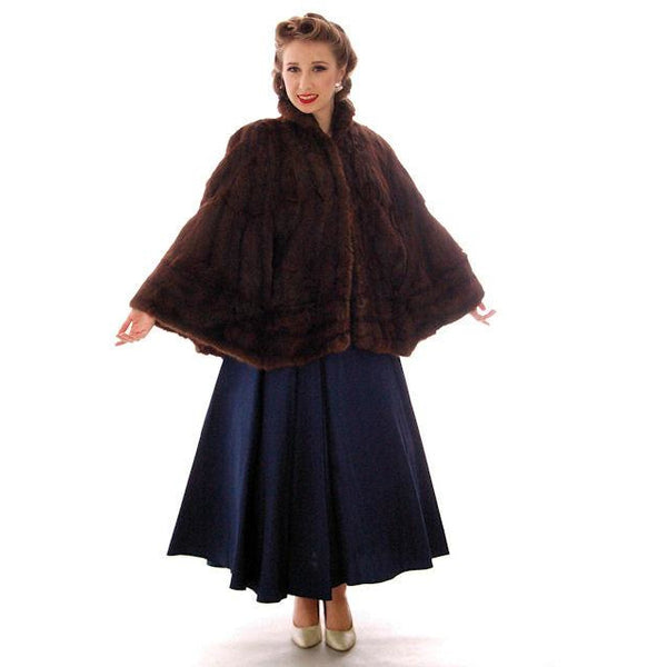 Vintage  Dark Brown Muskrat Fur Convertible  Stole 1940s One Size Fit - The Best Vintage Clothing  - 8