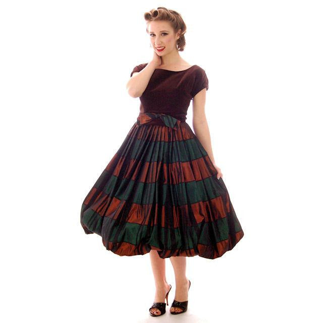 Vintage Velvet, Emerald & Copper Iridescent Taffeta Bubble Dress 1940s 34-24-Free - The Best Vintage Clothing  - 1