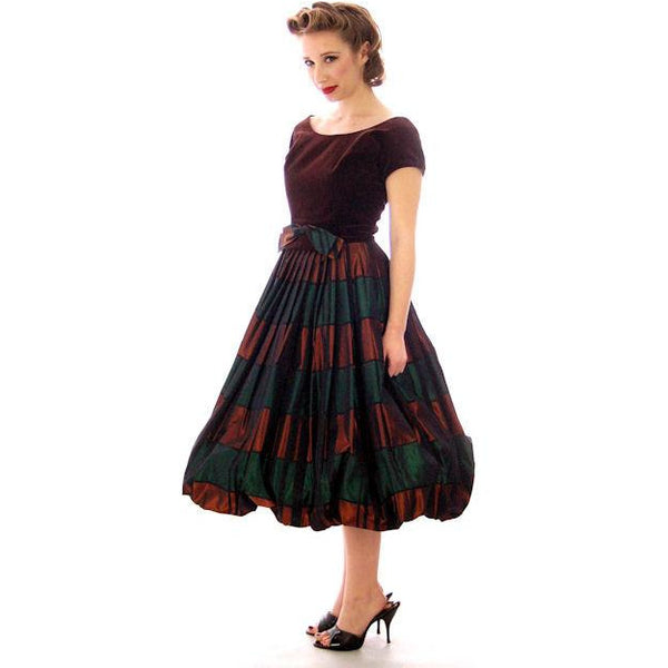 Vintage Velvet, Emerald & Copper Iridescent Taffeta Bubble Dress 1940s 34-24-Free - The Best Vintage Clothing  - 3