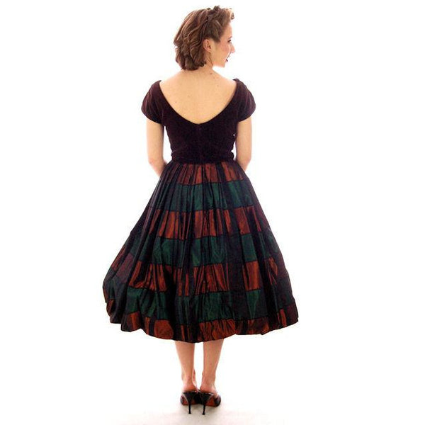Vintage Velvet, Emerald & Copper Iridescent Taffeta Bubble Dress 1940s 34-24-Free - The Best Vintage Clothing  - 2