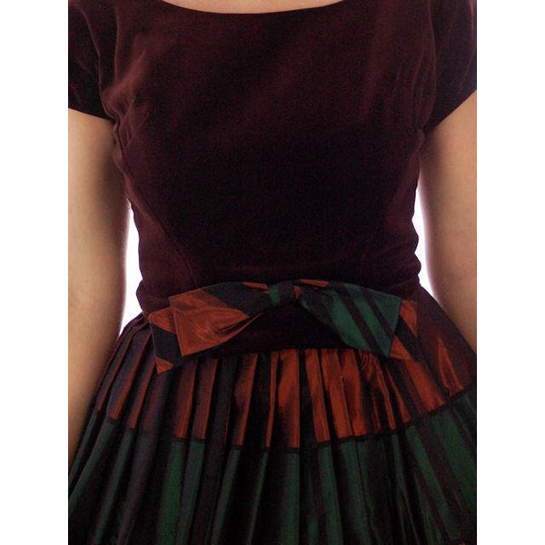 Vintage Velvet, Emerald & Copper Iridescent Taffeta Bubble Dress 1940s 34-24-Free - The Best Vintage Clothing  - 4