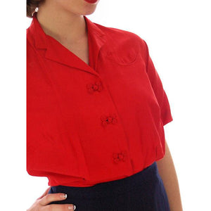 Vintage Red Raw Silk Blouse Short Sleeve  Smile Pocket Dynasty 1940s 37-29 - The Best Vintage Clothing  - 1