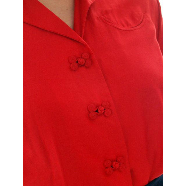Vintage Red Raw Silk Blouse Short Sleeve  Smile Pocket Dynasty 1940s 37-29 - The Best Vintage Clothing  - 4