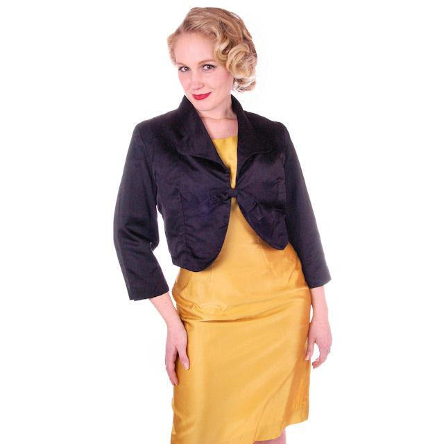 "Vintage Black Satin Short Evening Jacket Mary Agnes 1950 41"" Bust Small - The Best Vintage Clothing  - 1"