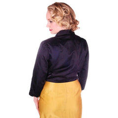 "Vintage Black Satin Short Evening Jacket Mary Agnes 1950 41"" Bust Small - The Best Vintage Clothing  - 2"