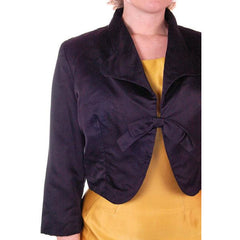 "Vintage Black Satin Short Evening Jacket Mary Agnes 1950 41"" Bust Small - The Best Vintage Clothing  - 4"