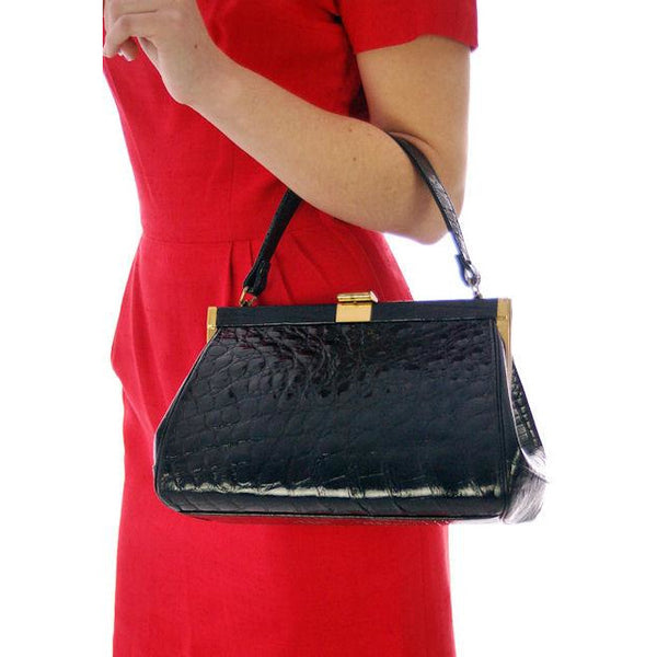 Vintage Kelly Style Bag Real Leather Black Alligator Croc