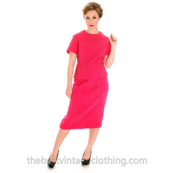 Vintage Pink 2 Pc Dress Suit Hot Pink 100% Wool Boucle 1950s 38-26-38 - The Best Vintage Clothing  - 1