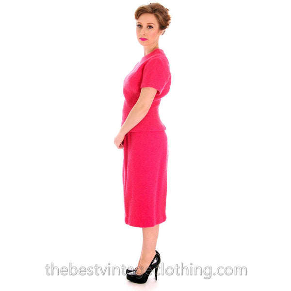 Vintage Pink 2 Pc Dress Suit Hot Pink 100% Wool Boucle 1950s 38-26-38 - The Best Vintage Clothing  - 3
