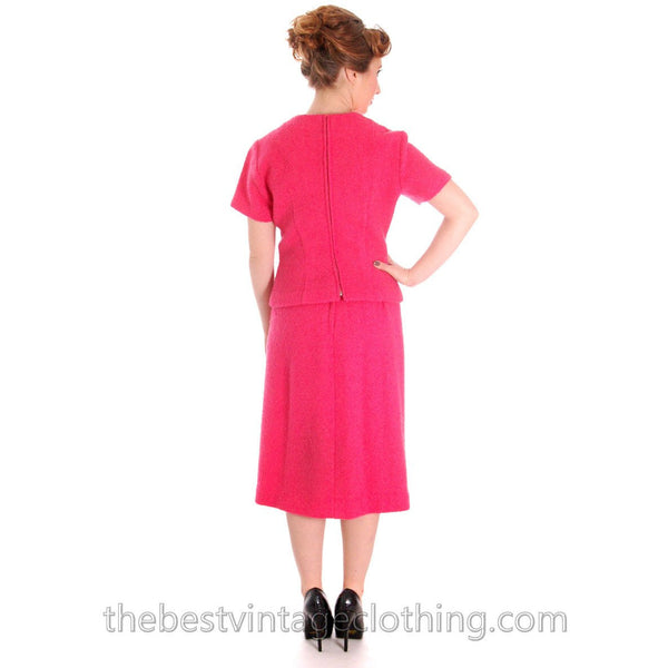 Vintage Pink 2 Pc Dress Suit Hot Pink 100% Wool Boucle 1950s 38-26-38 - The Best Vintage Clothing  - 4
