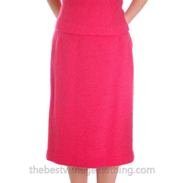 Vintage Pink 2 Pc Dress Suit Hot Pink 100% Wool Boucle 1950s 38-26-38 - The Best Vintage Clothing  - 5