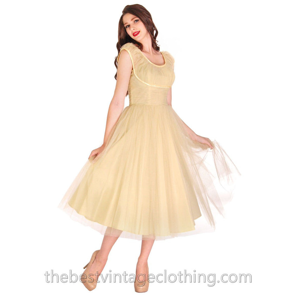 Vintage Fred Perlberg Tulle Prom Gown Pale Yellow 1950s 32-26-Free ...