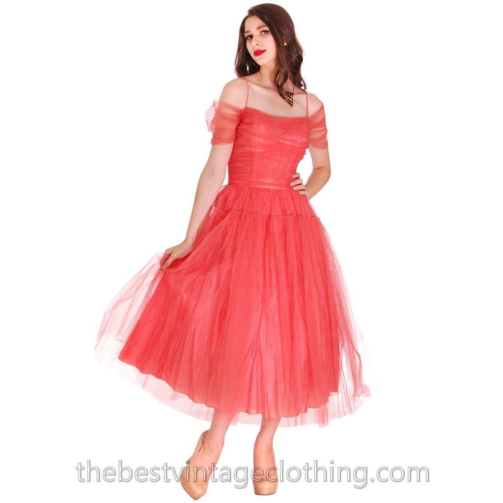 fb386ee31f Vintage 1950s Prom Gown Tulle   Satin Coral Colored Small Tea Length 34-27-  ...