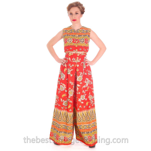 Vintage Gypsy Belly Dance Outfit Palazzo Pants + Coin Embellished Midi Top S 1960s - The Best Vintage Clothing  - 3