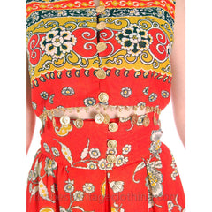 Vintage Gypsy Belly Dance Outfit Palazzo Pants + Coin Embellished Midi Top S 1960s - The Best Vintage Clothing  - 7