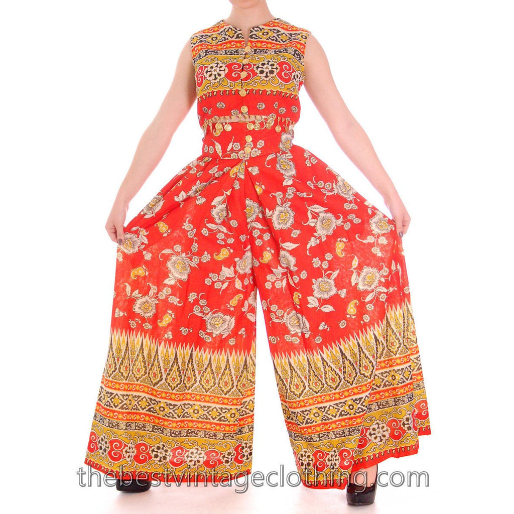 Vintage Gypsy Belly Dance Outfit Palazzo Pants Coin