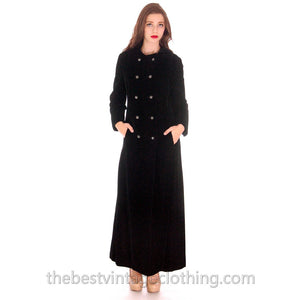 Vintage Coat Black Velvet Maxi Great Rhinestone Buttons 1970'S M - The Best Vintage Clothing  - 1