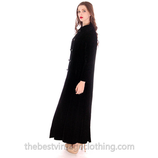 Vintage Coat Black Velvet Maxi Great Rhinestone Buttons 1970'S M - The Best Vintage Clothing  - 2
