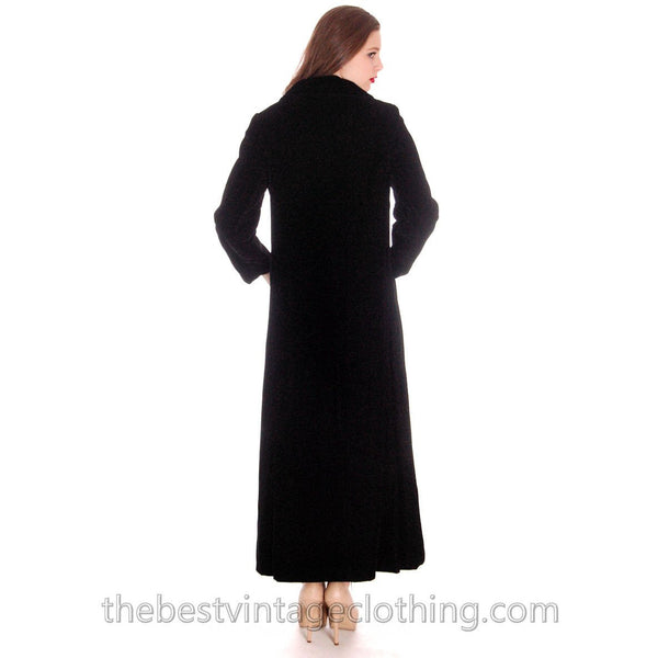 Vintage Coat Black Velvet Maxi Great Rhinestone Buttons 1970'S M - The Best Vintage Clothing  - 3