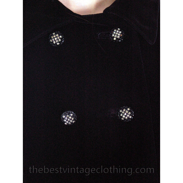 Vintage Coat Black Velvet Maxi Great Rhinestone Buttons 1970'S M - The Best Vintage Clothing  - 4
