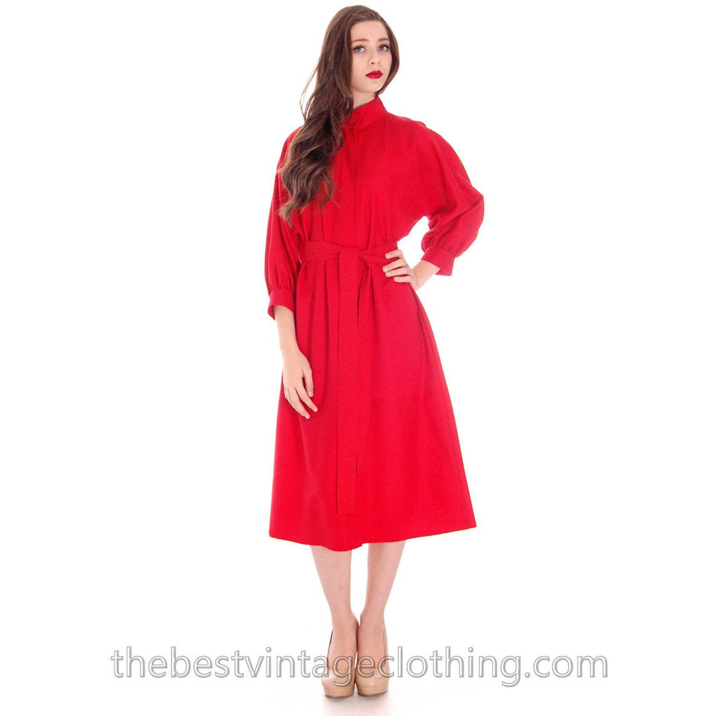 Vintage Vuokko Dress Red Fine Wool Unique Style and Pattern S - The Best Vintage Clothing  - 1