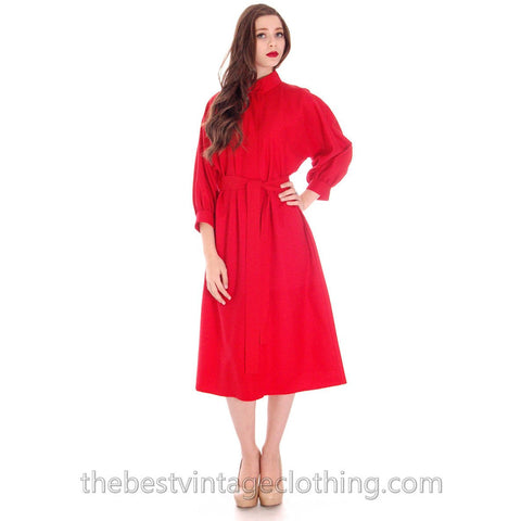 0dae5cef68f9 Vintage Vuokko Womens 1970s Dress Red Fine Wool Unique Style and Pattern S-M