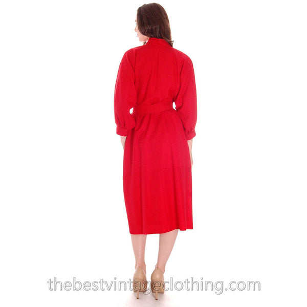 Vintage Vuokko Dress Red Fine Wool Unique Style and Pattern S - The Best Vintage Clothing  - 4