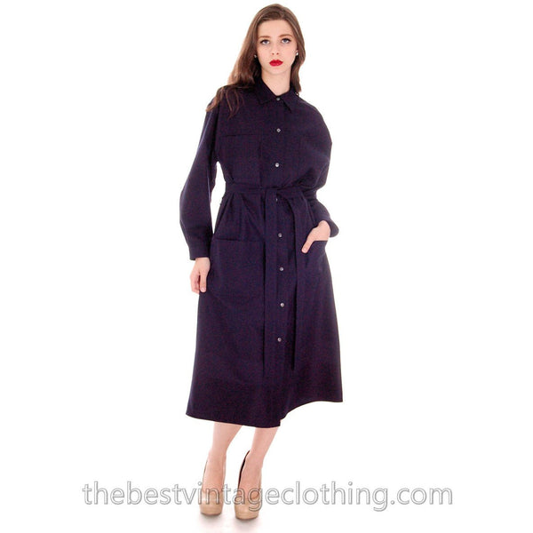 Vintage Vuokko Coat Dress Navy Fine Wool Mod Style 4 Pocket  Pattern L 1970s - The Best Vintage Clothing  - 1