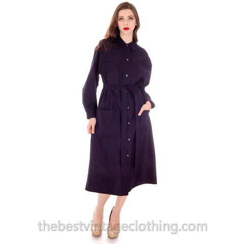 Vintage Vuokko Coat Dress Navy Fine Wool Mod Style 4 Pocket  Pattern L 1970s