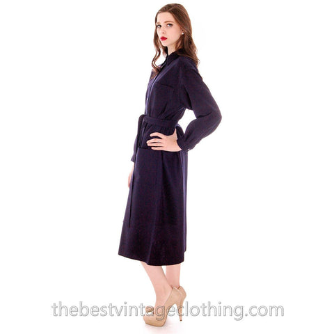 Vintage 1970s Vuokko Coat Dress Navy Fine Wool Mod Style 4 Pocket Womens Cool  Pattern L
