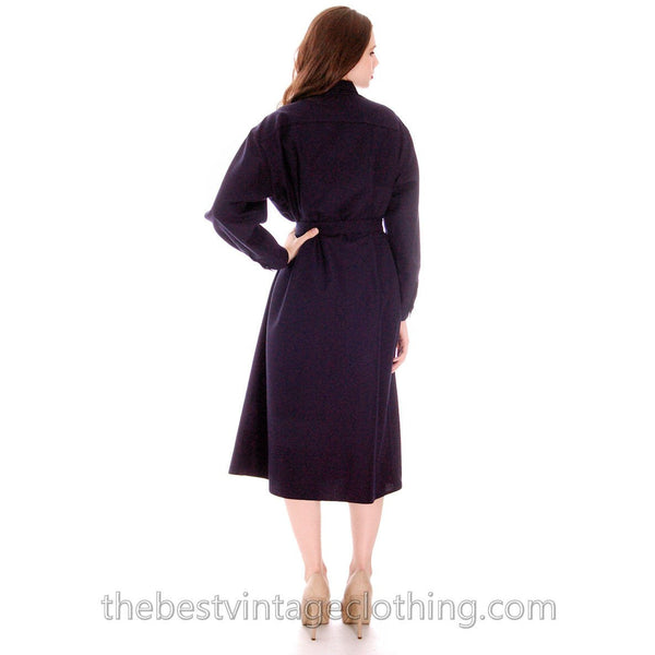 Vintage Vuokko Coat Dress Navy Fine Wool Mod Style 4 Pocket  Pattern L 1970s - The Best Vintage Clothing  - 3