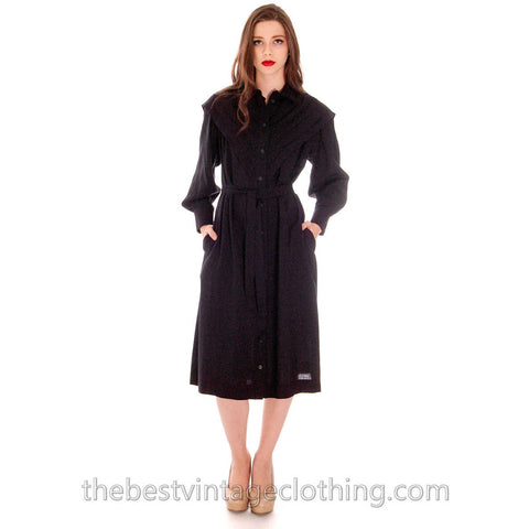 Vintage 1970s Marimekko FIne Wool Shirt Dress 36/8 Pleated V Yoke