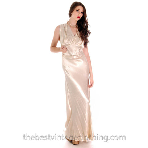 Vintage 1930s Candlelight Ivory Rayon Satin Bias Cut Gown Wedding Evening M L 42-36-48