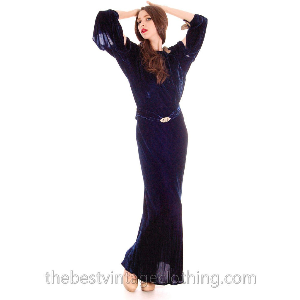 Vintage 1930s Silk Velvet Evening Gown Bias Cut S  Sapphire Blue 36-28-36 - The Best Vintage Clothing  - 1