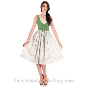 Adorable Vintage 1950s Cotton Dress Print Green W Lace Up Bodice Bea Butler S 33-22-Free - The Best Vintage Clothing  - 1