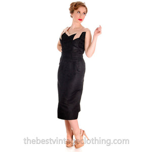 e738f869eb7 Vintage 1950s Wiggle Dress Black Silk   Beige Marilyn Monroe-ish L 40-28